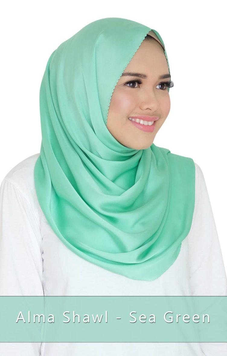 alma shawl - sea green