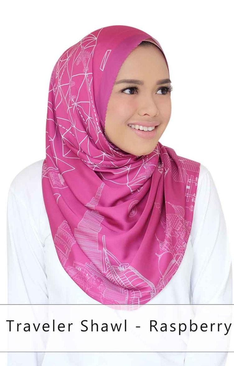 traveler shawl - raspberry